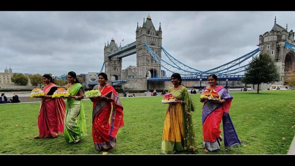 Bathukamma-celebrations-at-London-Tower-Bridge